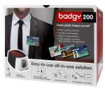 Badgy200 card printer includes (1 colour ribbon for 100 prints) 100 x 0.76mmm/30mil cards +badge studio plus+excel connectivity
